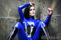 Trish Taylor in blue